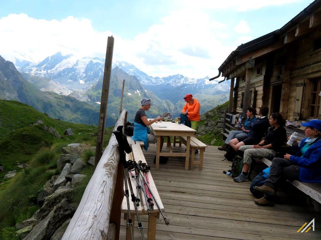 Trekking Haute Route. Cabane de Louvie, widok na Combin de Corbassiere